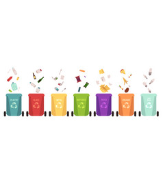 recycle bins set and falling garbage types vector image