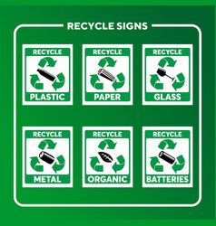recycle sign set vector image