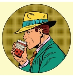 Retro man drinking coffee vector