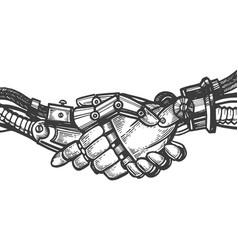robot handshake engraving vector image