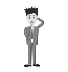Scared businessman icon gray monochrome style vector image vector image