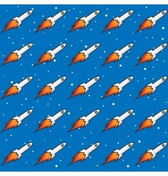 Seamless Childish Pattern with Rockets and Flame vector