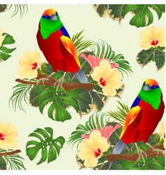 seamless texture tropical bird on a branch with vector image