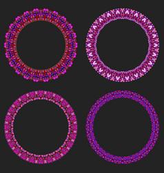 Set 4 gravel mosaic round frames - wreath vector