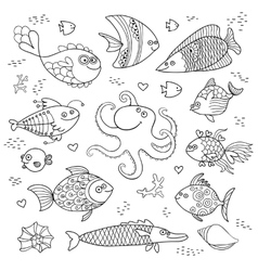 Set cute fish and octopus for the design of child vector image