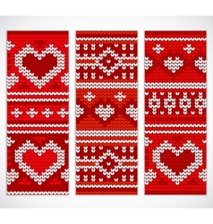 Set of seamless knitted banners with hearts vector image