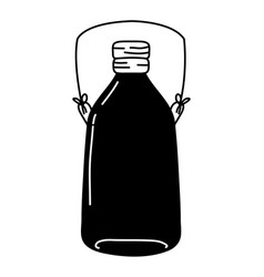 Silhouette long mason jar with wire handle vector