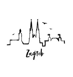 skyline zagreb croatia one line ink city vector image