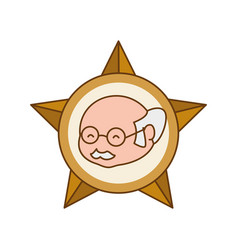 Star emblem glasses elder head vector