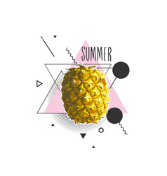 summer with pineapple in vector image