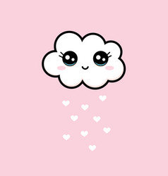 sweet white smiling cloud with big black eyes vector image
