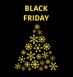 text black friday sale poster with shiny merry vector image