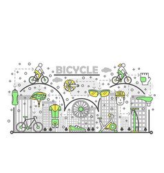 thin line art bike poster banner template vector image
