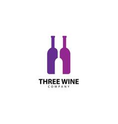 Three wine logo icon vector