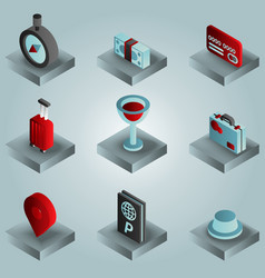traveling color gradient isometric icons vector image