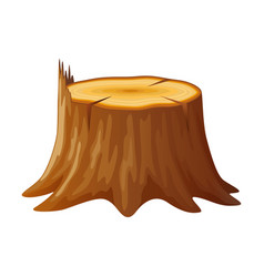 Tree wooden stump with rings and roots vector