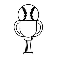 Trophy ball baseball winner outline vector