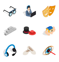 Trouble with work icons set isometric style vector