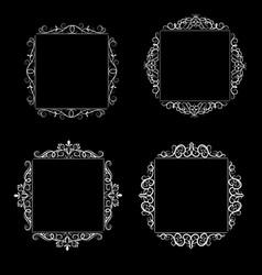 vintage swirl frame set vector image