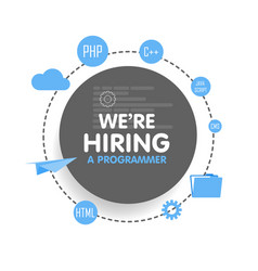 We hire a programmer megaphone concept vector