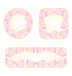 Wild roses banners and buttons with a flowers vector image