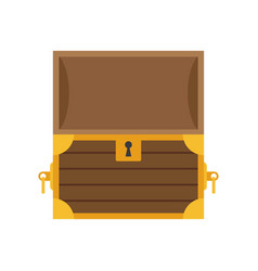 wooden empty chest with open cover vector image vector image
