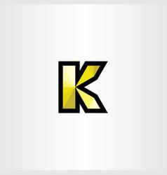 yellow black k letter icon symbol element vector image