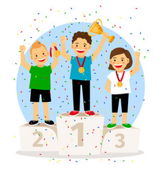 Young children winner podium vector
