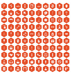 100 beauty and makeup icons hexagon orange vector image