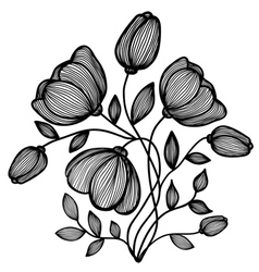 abstract black-and-white flower of the lines vector image