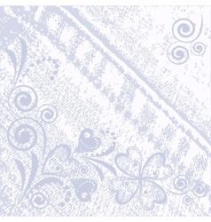 Denim floral jeans background vector