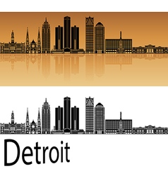Detroit skyline in orange vector image