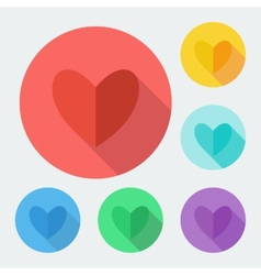 Flat style heart icon with long shadow vector image vector image
