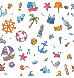 Hand drawn color seamless pattern with nautical vector image