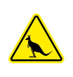 kangaroo warning sign wallaby hazard attention vector image vector image