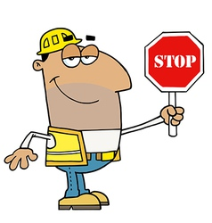 Male Hispanic Traffic Director Holding A Stop Sign vector image vector image