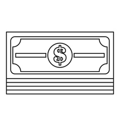 Money stack icon outline style vector image vector image