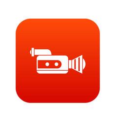 retro camera icon digital red vector image
