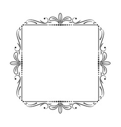Square frame with leaves and monograms vector
