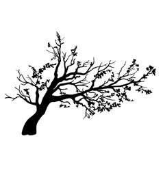 Tree in wind with flying leaves vector