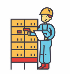 warehouse delivery man checking bar code on post vector image