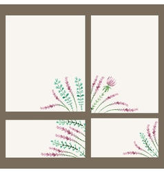 Watercolor floral banner hand draw herbal border vector