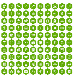 100 glasses icons hexagon green vector image vector image