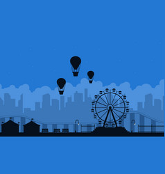 amusement park scnery on blue background vector image