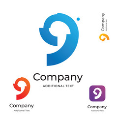 bright colorful nine 9 logo identity brand icon vector image