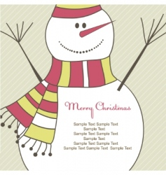 christmas card with snowman illustration vector image
