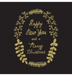 Christmas wreath hand drawn gold vector image