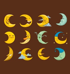 different moon month face vector image