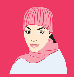 girl in pink hat and scarf vector image vector image