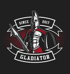 Gladiator emblem with a spear vector